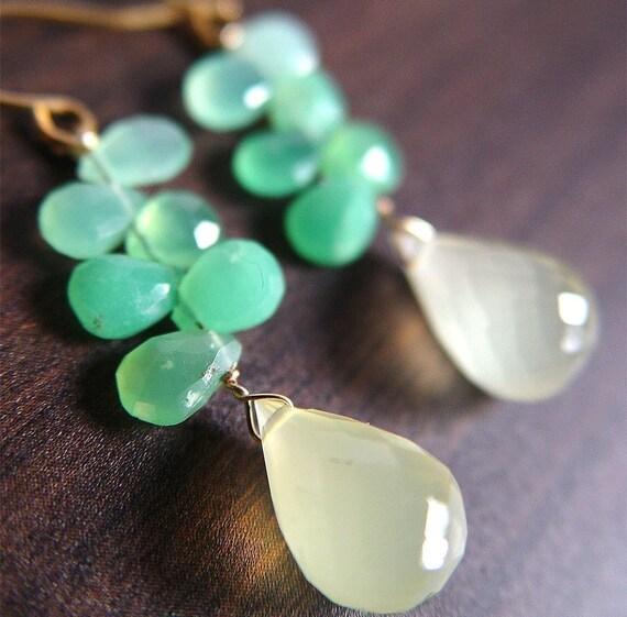 Candydrops Chrysoprase Earrings 14k Gold Lemon Green Cluster