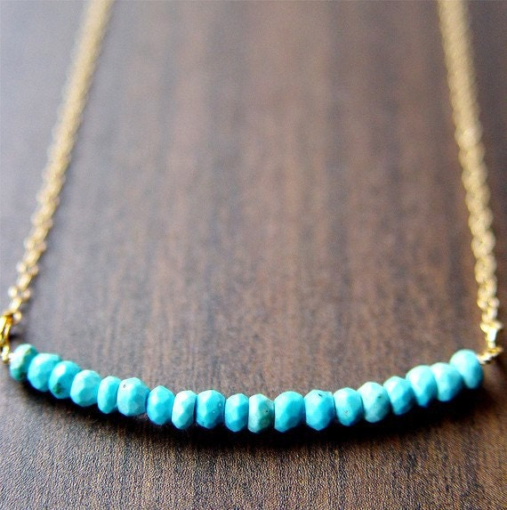 ON SALE Turquoise Rondelle Gold Necklace