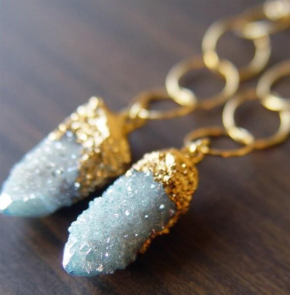 Spirit Aqua Aura Quartz Drusy Gold Dipped Earrings
