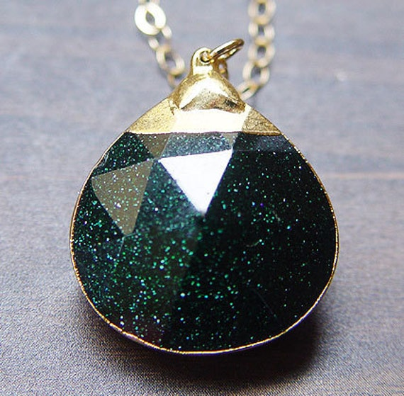 Green Sunstone Gold Necklace - Limited Edition