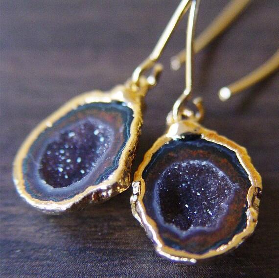 Black Burgundy Agate Druzy Earrings in 14k gold
