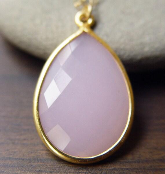 Lilac Chaledony Gold Necklace