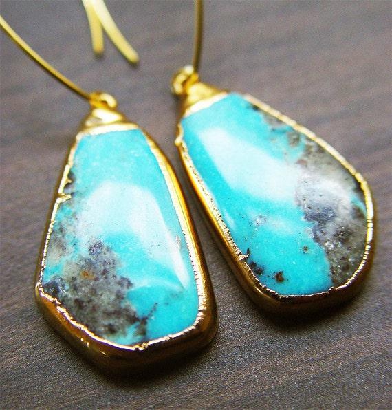 sleeping beauty turquoise earrings 14k gold. Black Bedroom Furniture Sets. Home Design Ideas