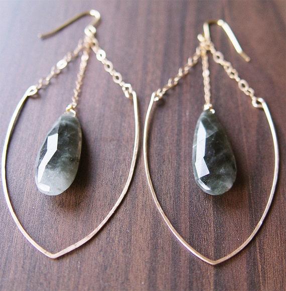 Moonstone Arrow Chain Earrings - 14k Gold