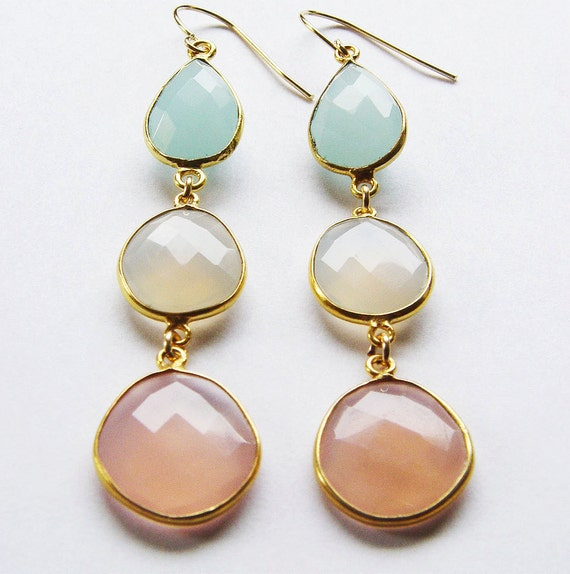 Pastel Moonstone Gold Earrings