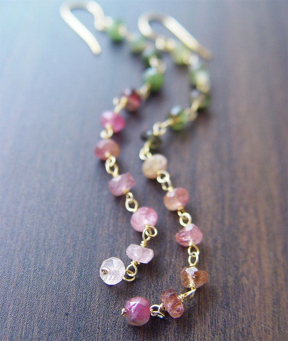 Multi Tourmaline Gold Earrings