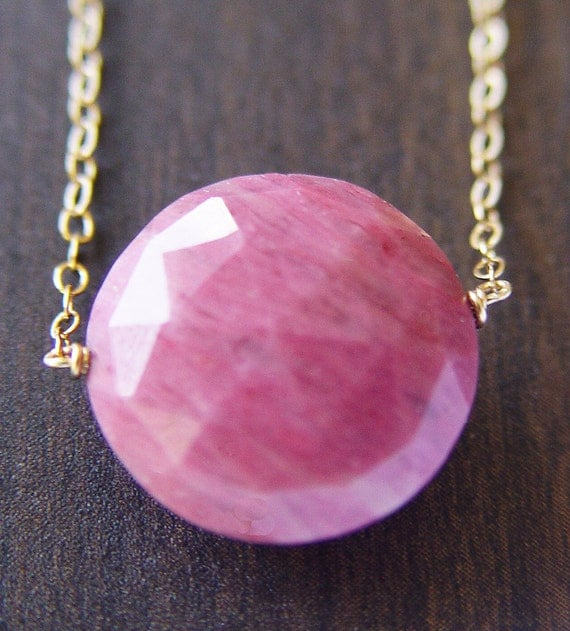 Round Rhodochrosite Gold Necklace