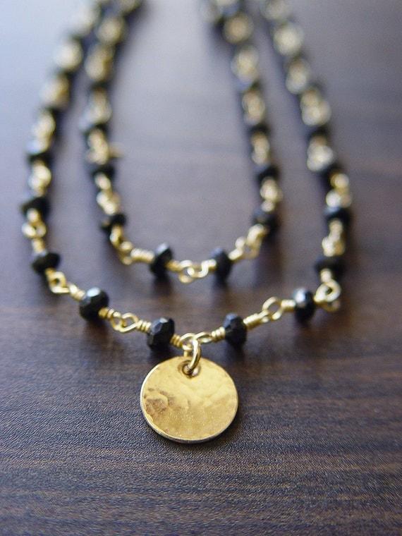 Black Onyx Disc Necklace