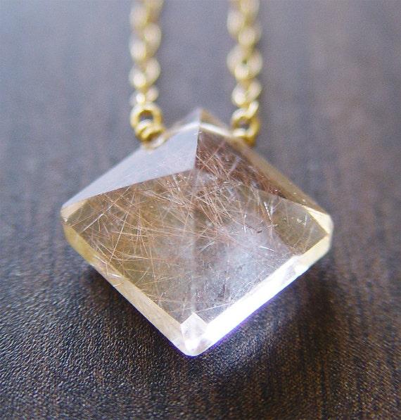 Pyramid Rutilated Quartz Gold Necklace