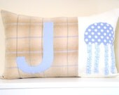 "Reserved for Andrea - Custom Letter ""T"" Nursery Pillow"