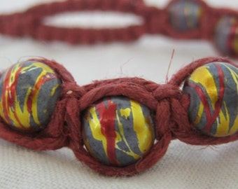 Hemp bracelet or anklet - macrame jewelry - deep red with colorful glass beads