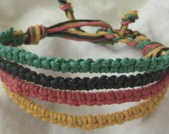 Handmade organic hemp bracelet or anklet - Rasta design - Macrame jewelry - Unique - Comfortable - 4 Strand: Green, Black, Yellow, Red
