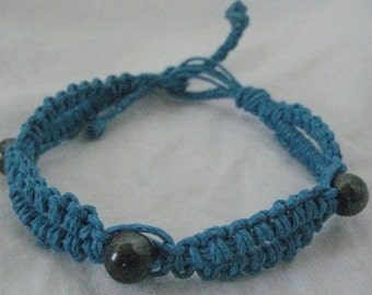 Hemp bracelet or anklet - macrame jewelry - turquoise blue color with magnetic beads
