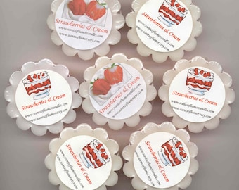 4 STRAWBERRIES & CREAM TARTS Melts  Highly Scented Wickless Candles Hand Poured