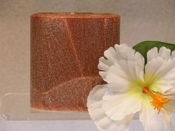 PATCHOULI SCENTED Candle - Pillar - Round - Palm Wax - Brown - HIghly Scented - Hand Poured - Custom Order Scent & Color