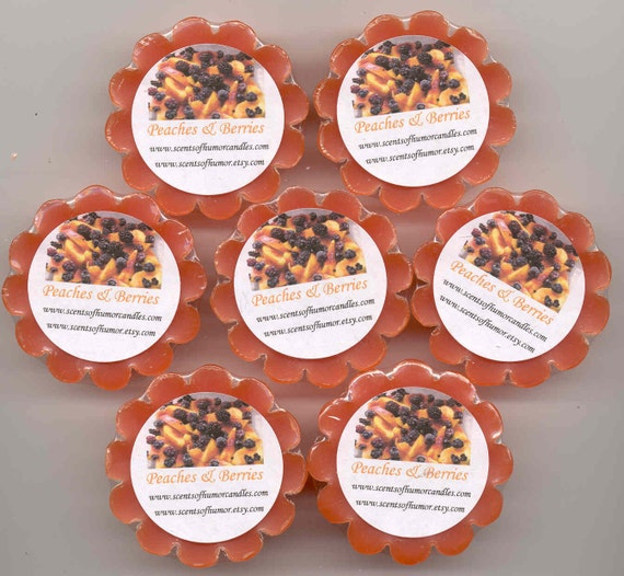 4 PEACHES and BERRIES SCENTED Wax Candle Melts Tarts Hand Poured  Fruit