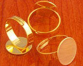 big size 40pcs 15mm Pad brass base free nickel Adjustable golden RING Base Blank widen Findings