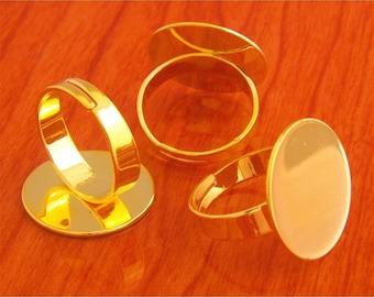 Big size 40pcs 20mm Pad brass base free nickel Adjustable Golden RING Base Blank widen Findings
