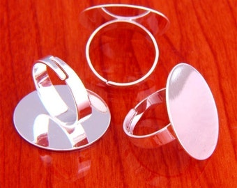 10pcs 25mm Pad brass base free nickel Adjustable silvery white RING Base Blank widen Findings