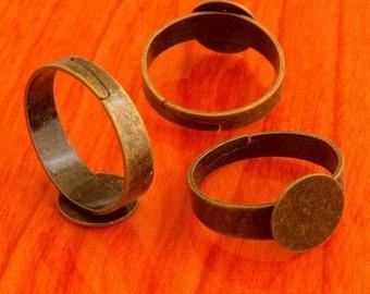 Big size 40pcs 10mm Pad brass base free nickel Adjustable antique bronze RING Base Blank widen Findings