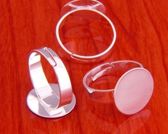 big size 20pcs 15mm Pad brass base free nickel Adjustable silvery white RING Base Blank widen Findings