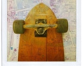 Skateboard polaroid print 4x5 - collage handmade - fine art print signed by its author