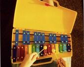 Polaroid xylophone vintage style fine art print of 6x6 inches