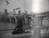 London black and white lomo holga photograph printed on 8x8 giclee archival paper  - seagulls, street photography
