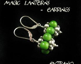 Beaded bead tutorial, beaded bead earrings, beaded jewelry, spherical earrings pattern, earrings pattern, round earrings - MAGIC LANTERNS