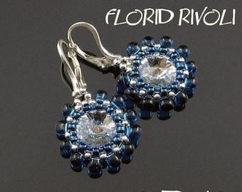 Rivoli earrings tutorial, round earrings pattern, rivoli pattern, flower earrings, round earrings, beaded setting for rivoli - FLORID RIVOLI