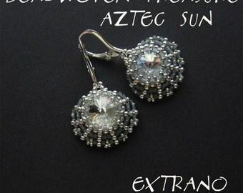 Rivoli earrings tutorial, aztec earrings, fan shaped jewelry, fan earrings pattern, rivoli pattern, round earrings, beaded fans - AZTEC SUN