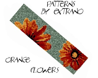 Peyote Bracelet Patterns by Extrano - ORANGE FLOWERS on Green - 9 colors ONLY - Instant download