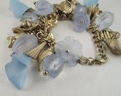 Vintage Lucite Charm Bracelet Ocean Blue RESERVED FOR LYNNIE