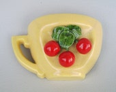 Vintage Wallpocket Covina Pottery Yellow Tea Cup Cherries