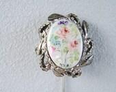 Vintage Porcelain Stick Pin Hat Pin Flower Bouquet