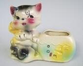 Vintage Shawnee Cat Fishbowl Planter Ceramic Forties