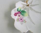 Vintage Pink Floral Leaf Plate Trinket Dish Ucagco Japan