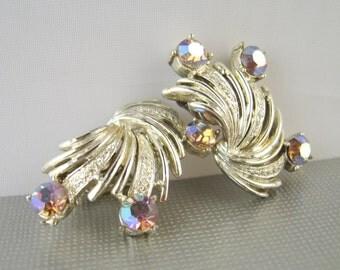 Vintage Coro Earrings Aurora Borealis Rhinestones