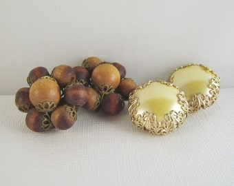 Vintage Clip Earrings Wood Yellow Lot of Two