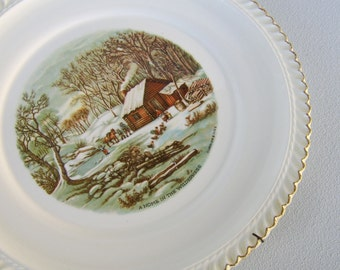 Vintage Harkerware Plate Currier & Ives Collectible