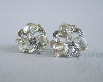 Vintage Lisner Rhinestone Earrings Silver Screw Back