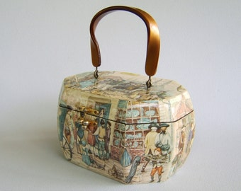 Vintage Decopauged Wood Purse Blue Brown Cream Handbag