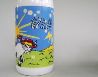 Vintage Carlton Glass Milk Bottle White Milk Glass