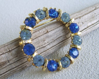 Vintage Blue Rhinestone Circle Brooch Pin