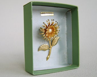 Vintage Cultured Pearl Flower Brooch Original Box Unused