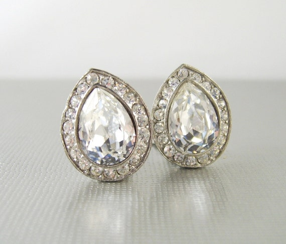 Vintage Rhinestone Silver Clip Earrings