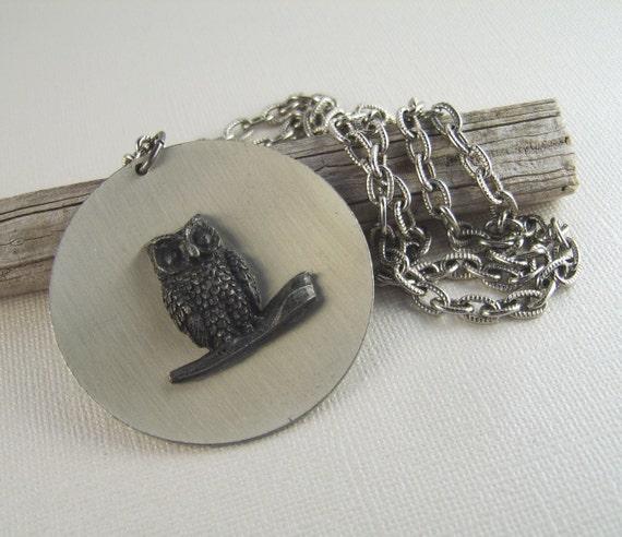 Vintage Pewter Owl Necklace Towle Pendant