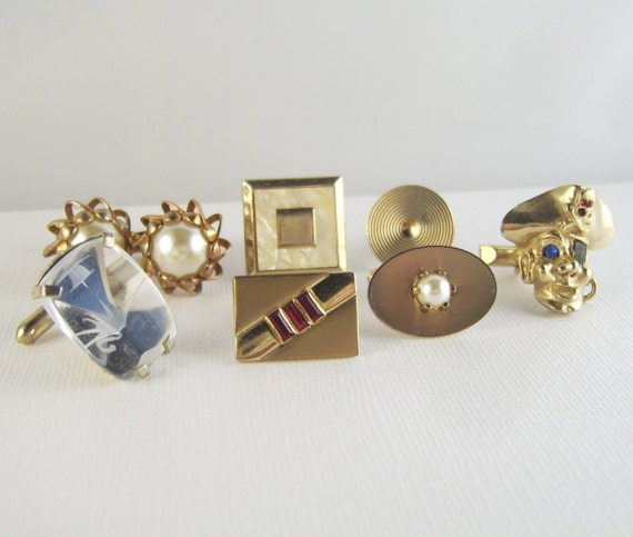 Vintage Cuff Links Cufflinks Lot Upcycle Unusual RESERVED FOR SUE