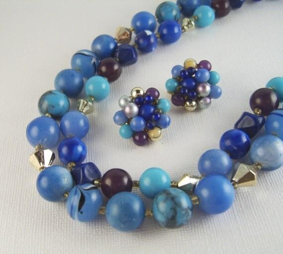 Vintage Blue Necklace & Earrings Japan Demi-Parure Fifties