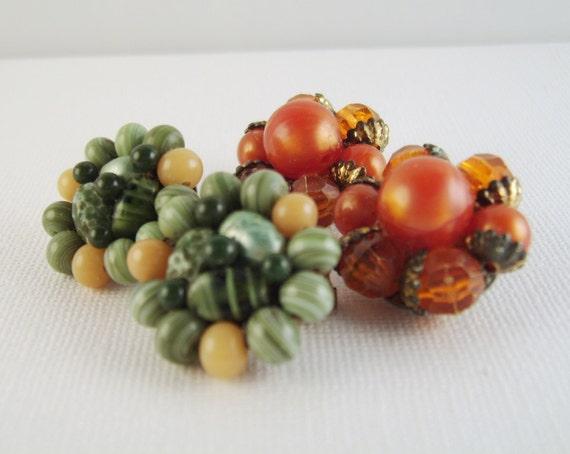 Vintage Forties Earrings Green Orange Clip-On